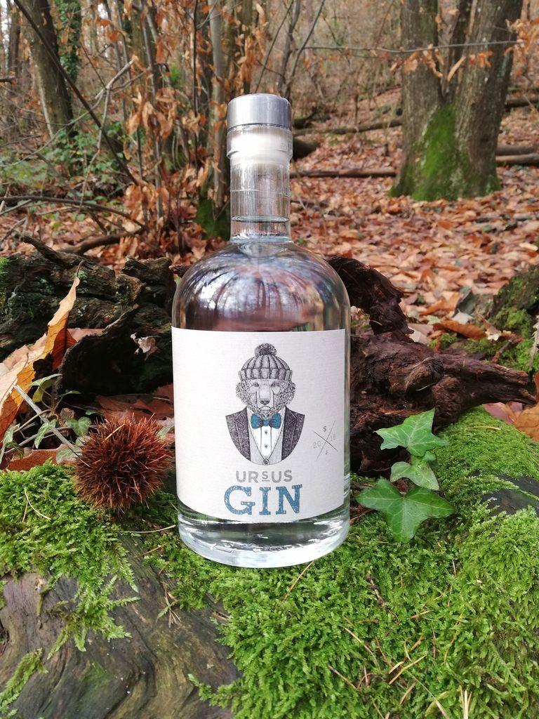 Ursus Gin Flasche vor natürlichem Hintergrund