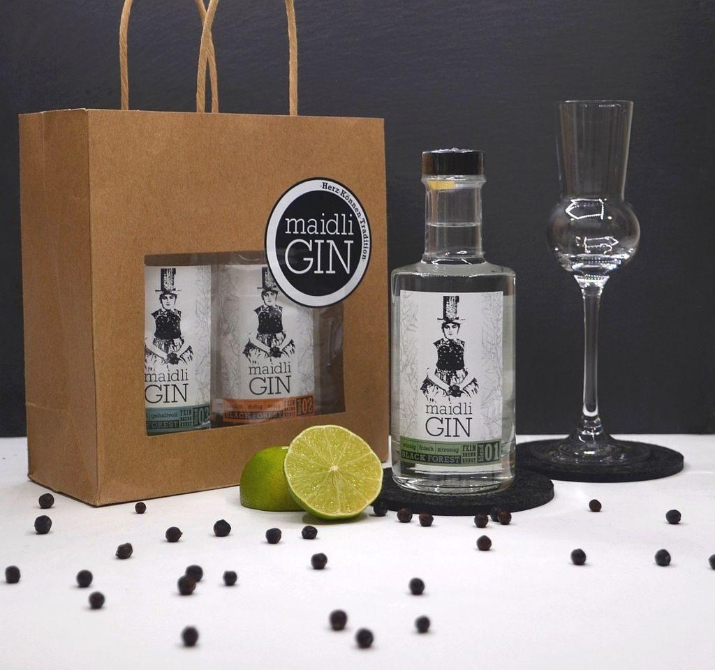 Paket von Maidli Gin mit drei verschiedenen Gins